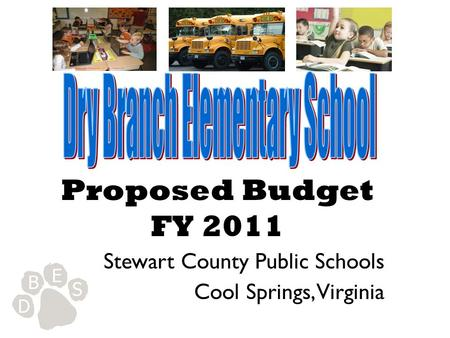 Proposed Budget FY 2011 Stewart County Public Schools Cool Springs, Virginia.