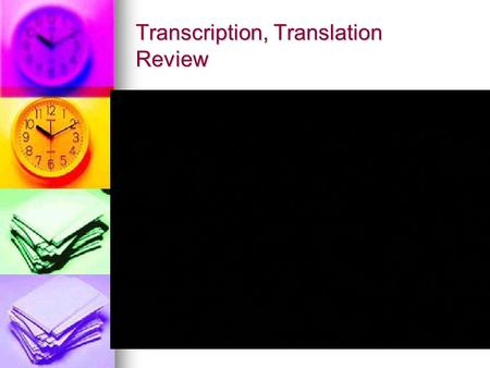 Transcription, Translation Review. Mutations and Genetic Modifications.