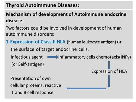 Thyroid Autoimmune Diseases: Mechanism of development of Autoimmune endocrine disease: Two factors could be involved in development of human autoimmune.