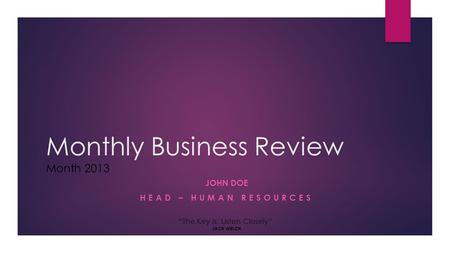 Monthly Business Review Month 2013