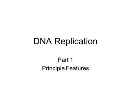 DNA Replication Part 1 Principle Features. Figure 11.1 Identical base sequences Mechanistic Overview.