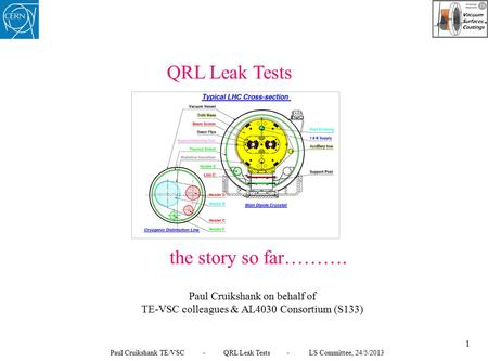QRL Leak Tests the story so far………. Paul Cruikshank on behalf of TE-VSC colleagues & AL4030 Consortium (S133) 1 Paul Cruikshank TE/VSC - QRL Leak Tests.