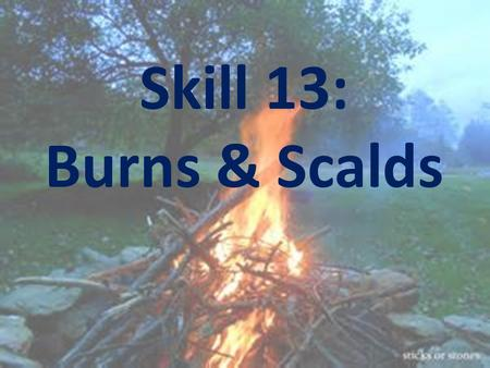 Skill 13: Burns & Scalds. Learning Intention: To equip you with the knowledge to avoid, recognise and treat burns and scalds.