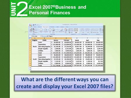 Excel 2007 ® Business and Personal Finances What are the different ways you can create and display your Excel 2007 files?