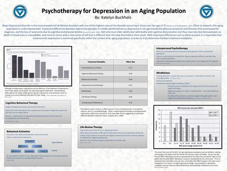 Psychotherapy for Depression in an Aging Population Psychotherapy for Depression in an Aging Population By: Katelyn Buchholz Major Depressive Disorder.