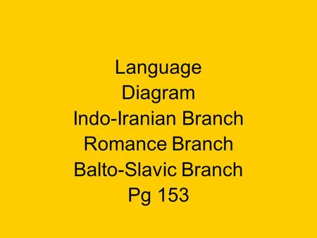 Language Diagram Indo-Iranian Branch Romance Branch