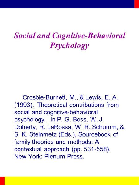 Social and Cognitive-Behavioral Psychology Crosbie-Burnett, M., & Lewis, E. A. (1993). Theoretical contributions from social and cognitive-behavioral psychology.