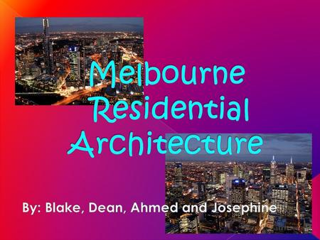 Throughout Melbourne's history there were different architectural periods where different styles of buildings were built and incorporated into the growing.