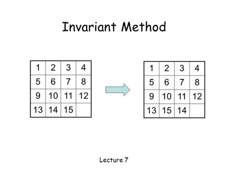 Invariant Method Lecture 7 1234 5678 9101112 131415 1234 5678 9101112 131514.