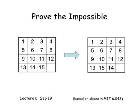 Prove the Impossible Lecture 6: Sep 19 (based on slides in MIT 6.042) 1234 5678 9101112 131415 1234 5678 9101112 131514.
