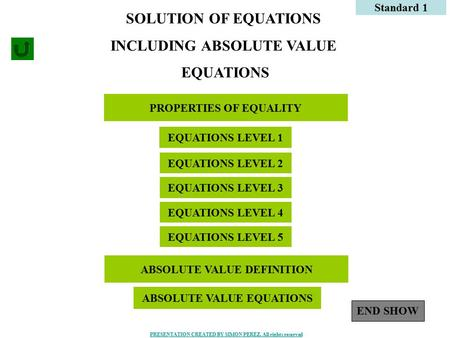 1 PROPERTIES OF EQUALITY Standard 1 SOLUTION OF EQUATIONS INCLUDING ABSOLUTE VALUE EQUATIONS EQUATIONS LEVEL 1 EQUATIONS LEVEL 2 EQUATIONS LEVEL 3 EQUATIONS.