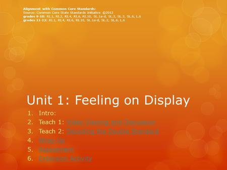 Unit 1: Feeling on Display 1.Intro: 2.Teach 1: Video Viewing and DiscussionVideo Viewing and Discussion 3.Teach 2: Decoding the Double StandardDecoding.