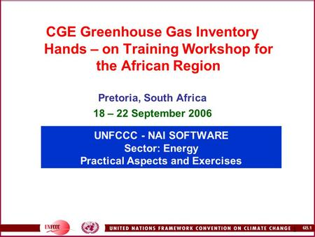 6B.1 1 UNFCCC - NAI SOFTWARE Sector: Energy Practical Aspects and Exercises CGE Greenhouse Gas Inventory Hands – on Training Workshop for the African Region.