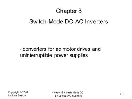 Switch-Mode DC-AC Inverters