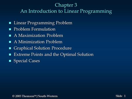 Chapter 3 An Introduction to Linear Programming