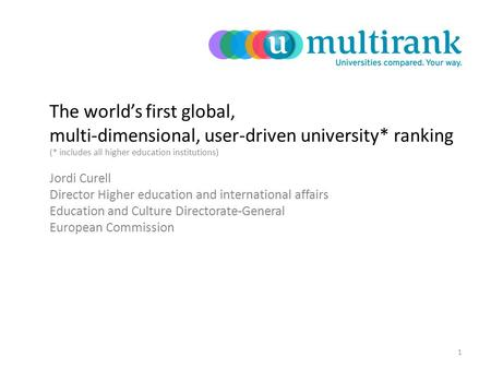 The world's first global, multi-dimensional, user-driven university* ranking (* includes all higher education institutions) Jordi Curell Director Higher.