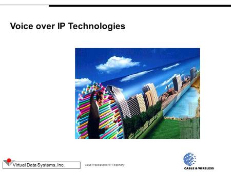 Virtual Data Systems, Inc. Value Proposition of IP Telephony Voice over IP Technologies.