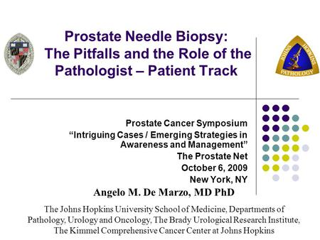 "Prostate Needle Biopsy: The Pitfalls and the Role of the Pathologist – Patient Track Prostate Cancer Symposium ""Intriguing Cases / Emerging Strategies."