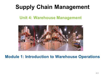 Learning Objectives Determine the need for warehouses and inventory management Identify the various types of warehouses Identify and describe the different.