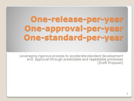 One-release-per-year One-approval-per-year One-standard-per-year Leveraging rigorous process to accelerate standard development and approval through predictable.