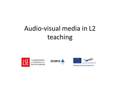 Audio-visual media in L2 teaching. What media do you use? Video (self made) With free software Jing Example 2.