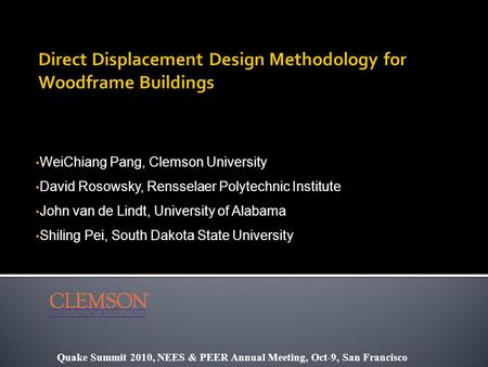 Direct Displacement Design Methodology for Woodframe Buildings