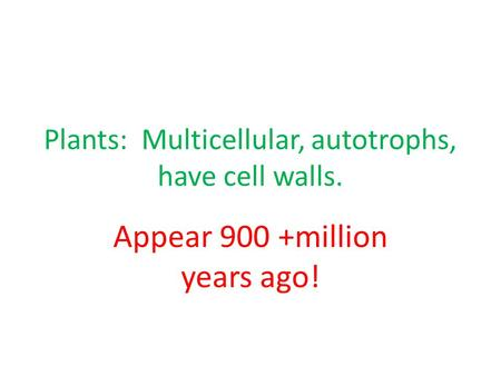 Plants: Multicellular, autotrophs, have cell walls. Appear 900 +million years ago!