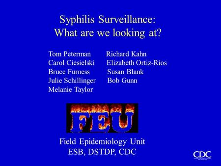Syphilis Surveillance: What are we looking at? Tom Peterman Richard Kahn Carol Ciesielski Elizabeth Ortiz-Rios Bruce Furness Susan Blank Julie Schillinger.