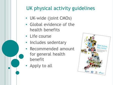 UK physical activity guidelines UK-wide (joint CMOs) Global evidence of the health benefits Life course Includes sedentary Recommended amount for general.