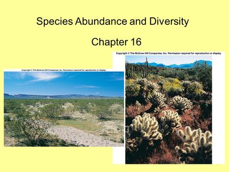 1 Species Abundance and Diversity Chapter 16. 2 Introduction Community: Association of interacting species inhabiting some defined area.  Community Structure.