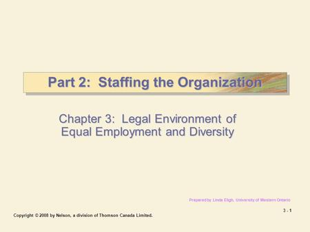 3 - 1 Copyright © 2008 by Nelson, a division of Thomson Canada Limited. Part 2: Staffing the Organization Chapter 3: Legal Environment of Equal Employment.