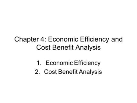 Chapter 4: Economic Efficiency and Cost Benefit Analysis 1.Economic Efficiency 2.Cost Benefit Analysis.