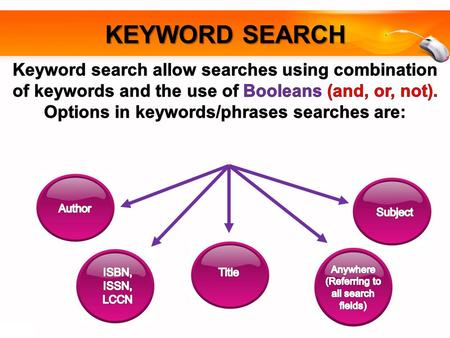 KEYWORD SEARCH. HOW TO FIND BOOK VIA WEBOPAC KEYWOOD SEARCH Click here to begin.