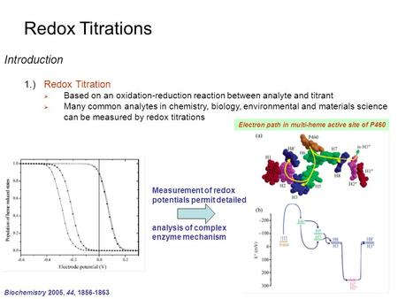 Redox Titrations Introduction 1.)Redox Titration  Based on an oxidation-reduction reaction between analyte and titrant  Many common analytes in chemistry,
