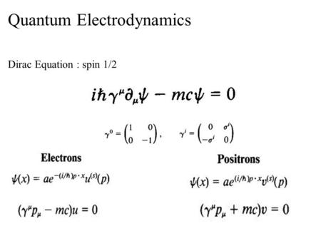 Quantum Electrodynamics Dirac Equation : spin 1/2.