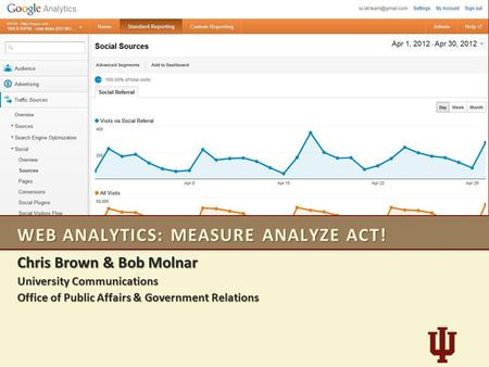 WEB ANALYTICS: MEASURE ANALYZE ACT! Chris Brown & Bob Molnar University Communications Office of Public Affairs & Government Relations.