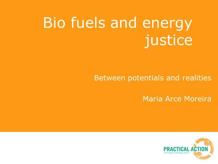 Bio fuels and energy justice Between potentials and realities Maria Arce Moreira.