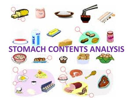 STOMACH CONTENTS ANALYSIS. What do you look for? Drugs Type of food that was ingested: can test for the presence of fats, sugars, proteins, etc.; this.