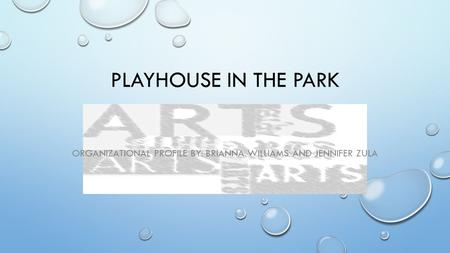 PLAYHOUSE IN THE PARK ORGANIZATIONAL PROFILE BY: BRIANNA WILLIAMS AND JENNIFER ZULA.
