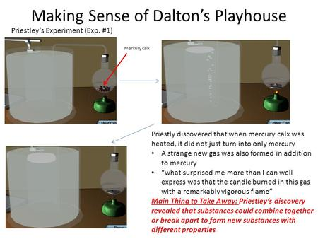 Making Sense of Dalton's Playhouse Priestley's Experiment (Exp. #1) Mercury calx Priestly discovered that when mercury calx was heated, it did not just.