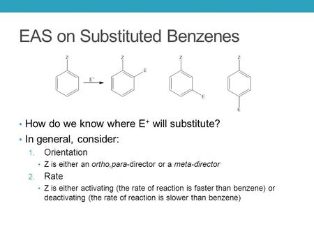 EAS on Substituted Benzenes How do we know where E + will substitute? In general, consider: 1. Orientation Z is either an ortho,para-director or a meta-director.