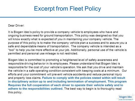Excerpt from Fleet Policy