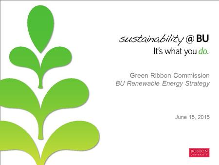 Green Ribbon Commission BU Renewable Energy Strategy June 15, 2015.