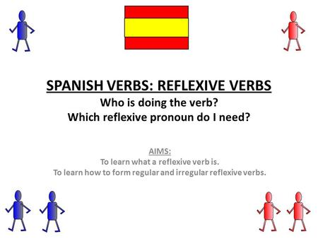 SPANISH VERBS: REFLEXIVE VERBS Who is doing the verb? Which reflexive pronoun do I need? AIMS: To learn what a reflexive verb is. To learn how to form.