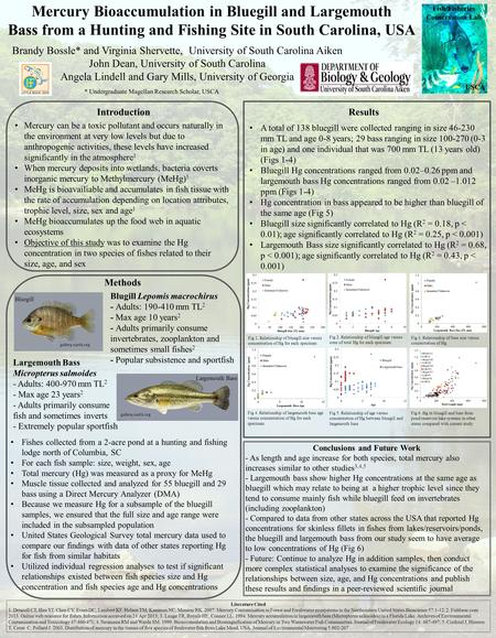 Mercury Bioaccumulation in Bluegill and Largemouth Bass from a Hunting and Fishing Site in South Carolina, USA Brandy Bossle* and Virginia Shervette, University.
