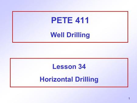 Lesson 34 Horizontal Drilling