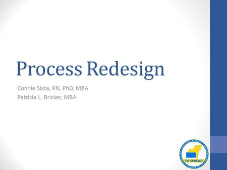 Process Redesign Connie Sixta, RN, PhD, MBA Patricia L. Bricker, MBA.