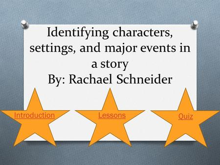 Identifying characters, settings, and major events in a story By: Rachael Schneider Introduction Lessons Quiz.