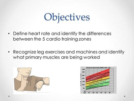 Objectives Define heart rate and identify the differences between the 5 cardio training zones Recognize leg exercises and machines and identify what primary.