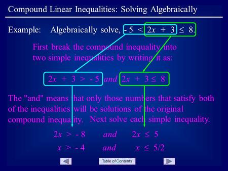 Table of Contents Compound Linear Inequalities: Solving Algebraically Example: Algebraically solve, - 5 < 2x + 3  8. First break the compound inequality.
